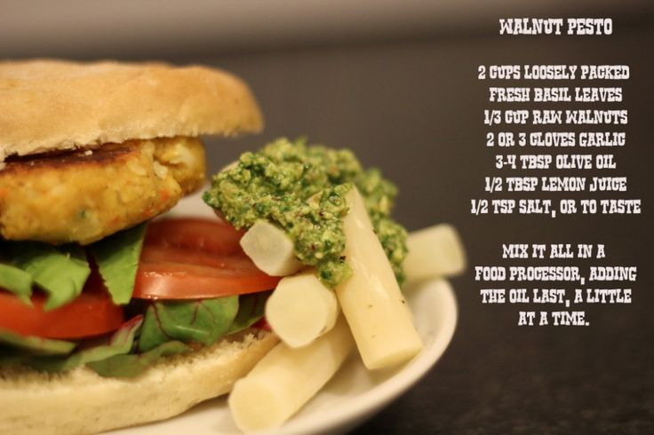 Vegan Burgers, walnut pesto