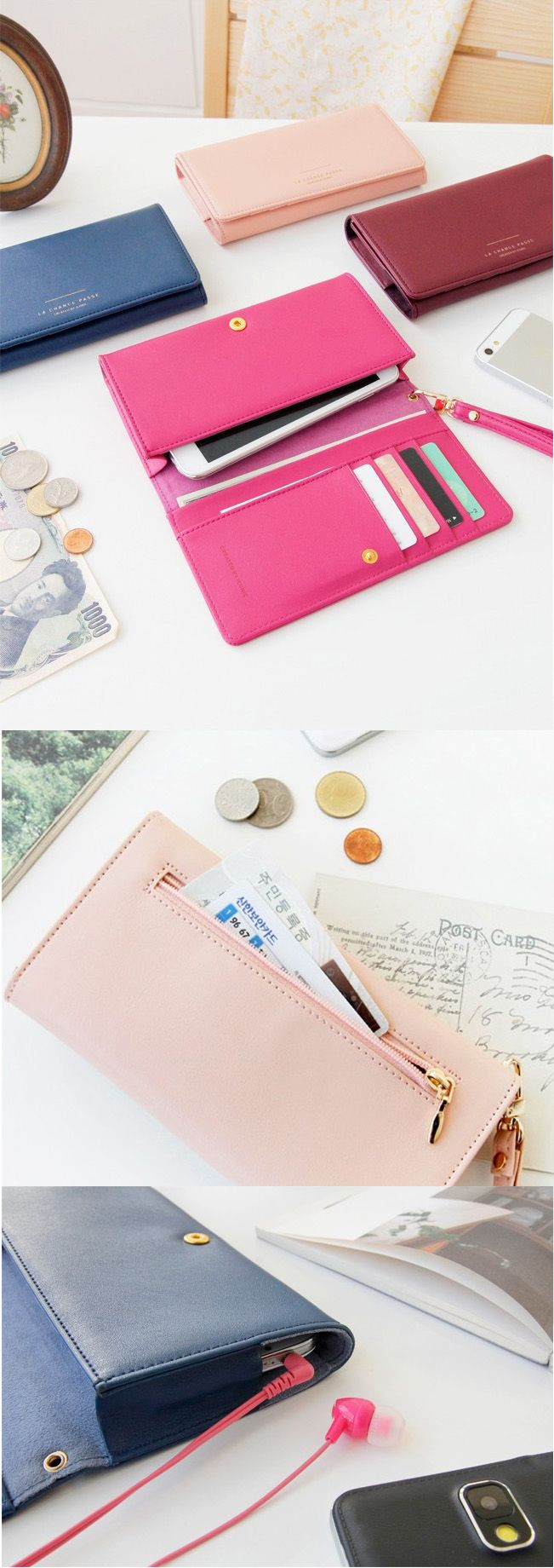 Keep your phone and everything else you need for travel all in one place! Includes 4 card pockets, 2 bill compartments, 1 zippered pocket, and a wrist strap for easy transportation. There's even a space for your headphone jack, so you can listen to music even when your phone is secured in the wallet.