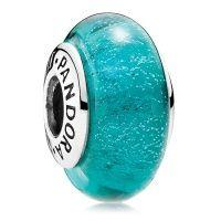 PANDORA Sterling Silver Disney Jasmine Sea Green Fluorescent Murano Glass Beads 791648