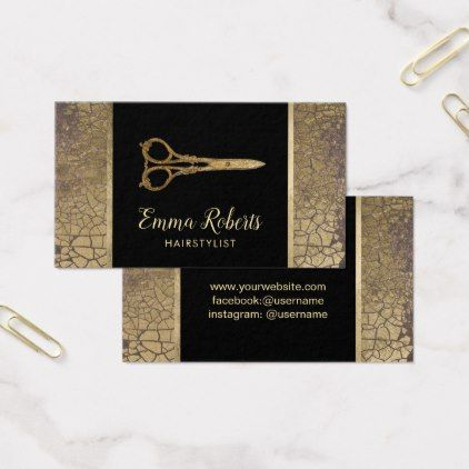 Hair Salon Gold Scissor Stylish Gold Leaf Crackle Business Card - stylist business cards cyo personalize businesscard diy