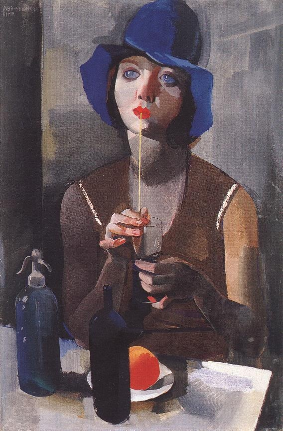 """""""Laura 1 (Woman in a blue hat)"""" (1929)  By Vilmos Aba-Novak, from Budapest, Hungary (1894 - 1941)  - tempera on cardboard -"""