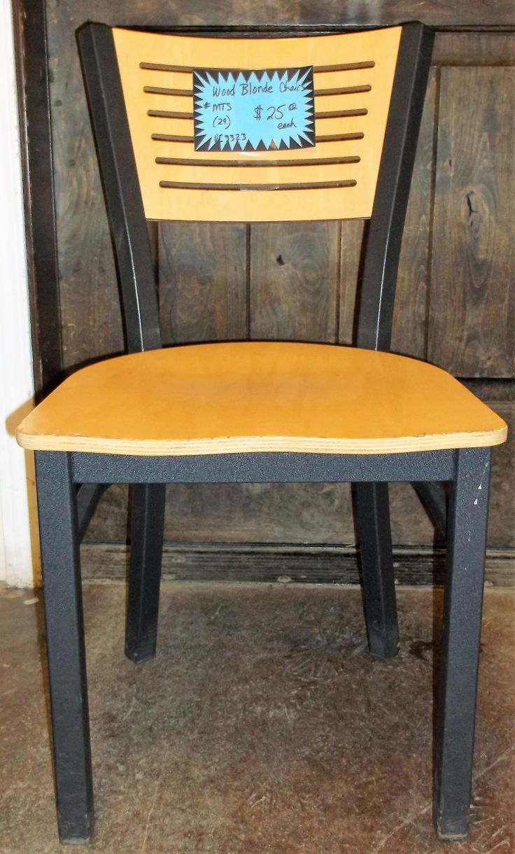 $25.00 Each Sale Chairs Natural Wooden Blonde and Black Frames used Model: By MTS (28 are available) Wooden Blonde/Black Chairs Natural Blonde wood seat and back. Black metal legs and frame.Gently used in great condition!