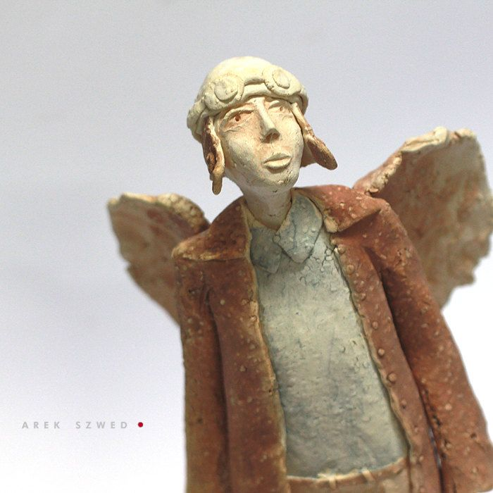 The angel in blue shirt/Ceramic Sculpture /Unique Ceramic Figurine /Ceramic Angel by arekszwed on Etsy