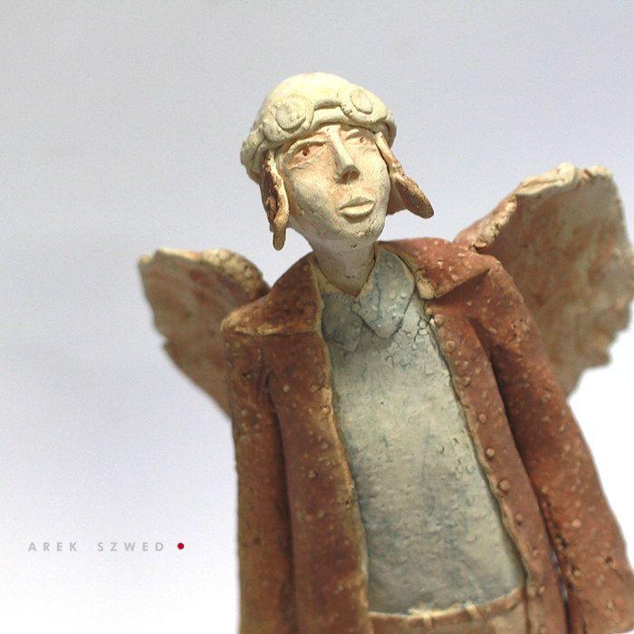 The angel in blue shirt/Ceramic Sculpture /Unique Ceramic Figurine /Ceramic Angel by arekszwed on Etsy