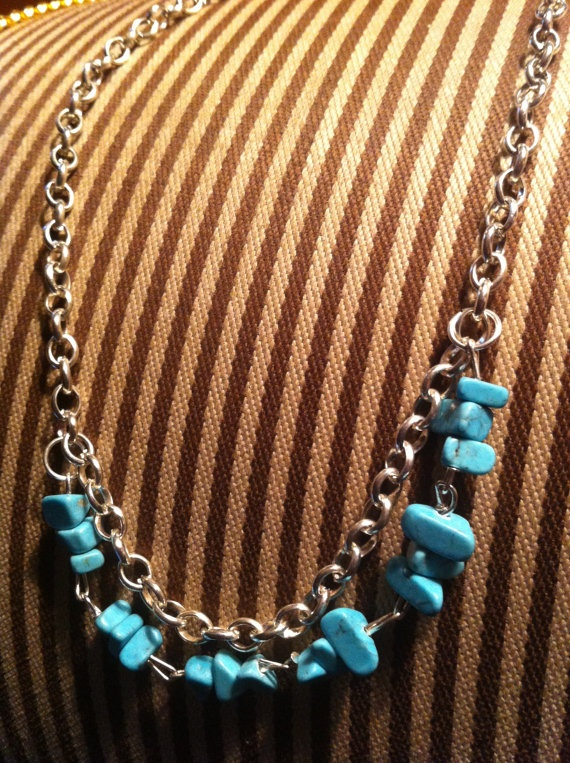 Silver and chipped turquoise hanging by SapphiresandSilver on Etsy, $24.99