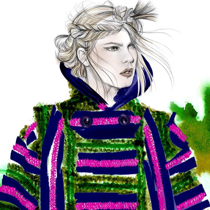 SACAI FALL 2O15 READY TO WEAR FASHION ILLUSTRATION BY ALEXANDRA CLARKE