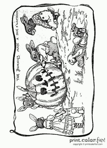 Halloween bunnies carving a pumpkin | Print. Color. Fun! Free ...