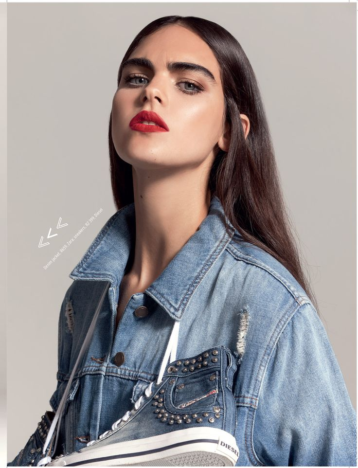 Glam up that denim jacket with a swipe of red lipstick! ELLE gives you more tips in this month's issue, on sale now. ELLE #StreetStyle