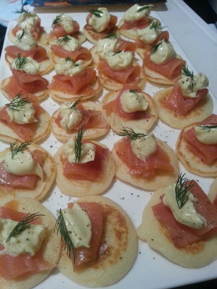 Blinis - made with smoked salmon and hollandaise sauce from our Manna for Mumma hamper!