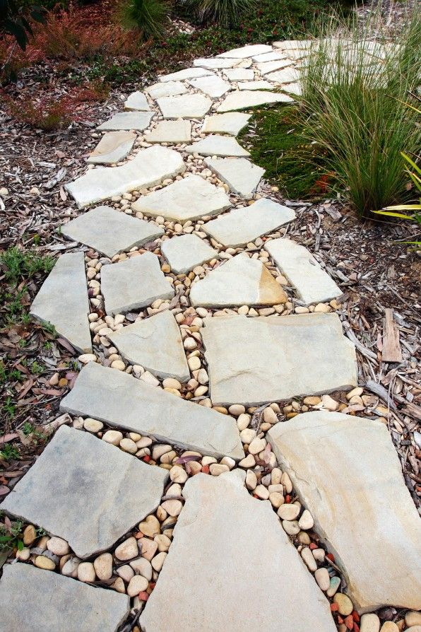 stone garden path - I want to do this in our backyard!