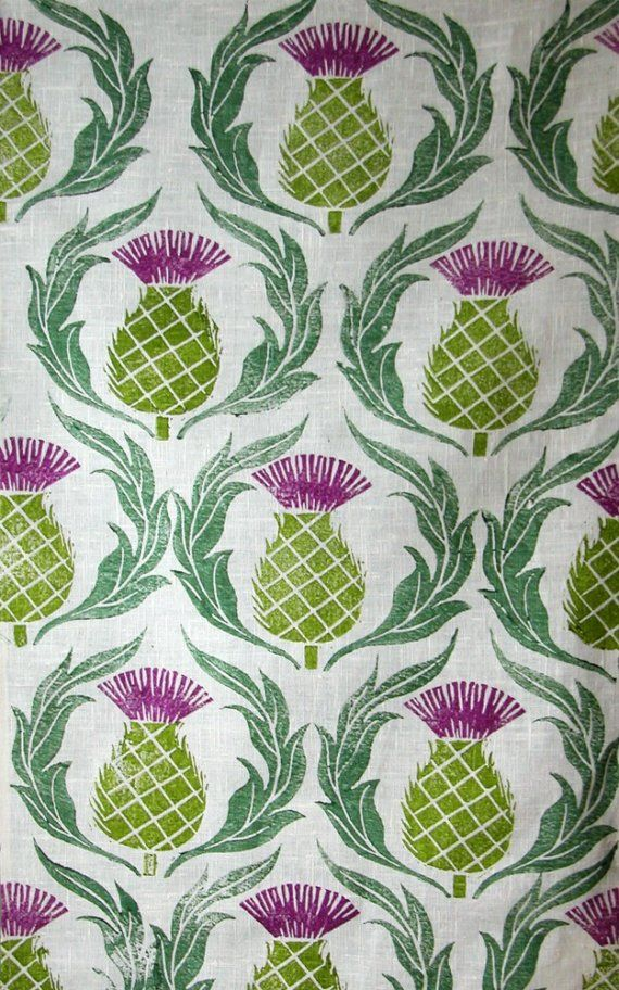 Thistles are strong and stout, just like my hand block printed design in thistle purple, olive green and forest green on white linen.