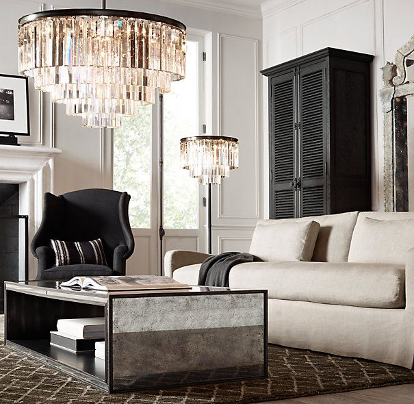 Bright Lights & Vintage-Scapes #daluxury #restorationhardware #chandelier #lamp