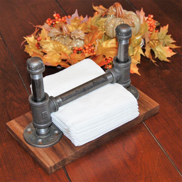 Industrial steel pipe napkin holder on walnut base by LiveEdgeandCrafts on Etsy