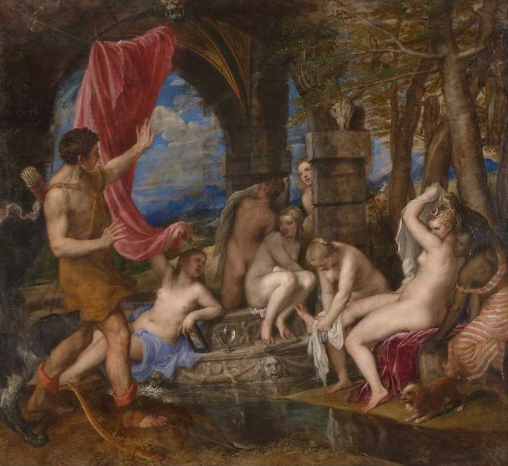 """""""As souls unbodied, bodies uncloth'd must be...""""    --John Donne, """"To His Mistress Going to Bed""""        """"Diana and Actaeon"""" by Titian, 1556-1559    Actaeon    O, my America, my Newfoundland  John Donne, """"Elegy 20""""      O, my America, discovered by slim chan"""