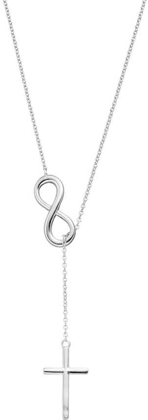 Sterling Silver Infinity & Cross Lariat Necklace