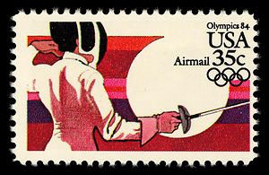 Even if you're staying up until 3 a.m. to catch the broadcast, fencing is a fascinating sport to watch.  This stamp, from the 1984 Olympics series, features women's fencing, which has been an Olympic sport since 1924.