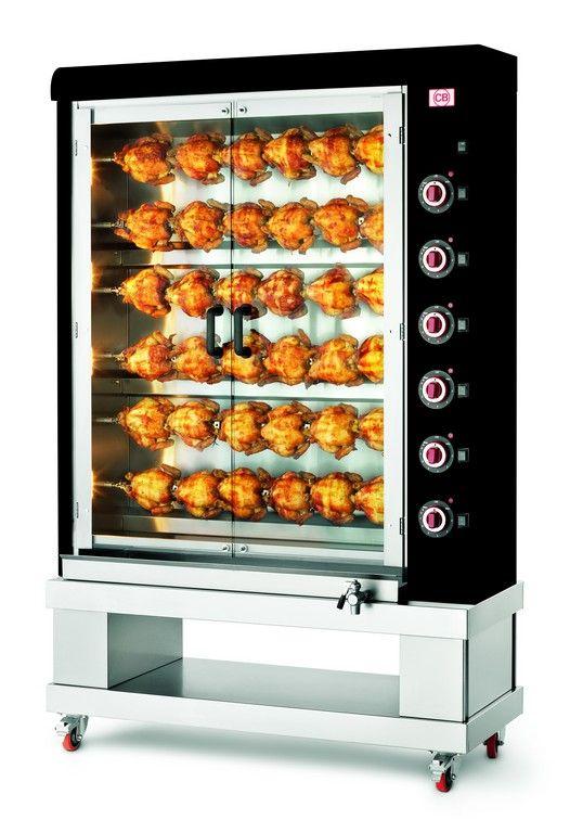 Girarrosto verticale elettrico 36 polli nero. www.cb-italy.com