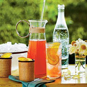 Sweet Tea Spritzer Recipe  2 cups cranberry juice  1 cup sweet tea-flavored vodka (Firefly Sweet Tea Vodka! -lc)  1/2 cup fresh lemon juice  5 cups ice cubes   1 (12-oz.) can lemon-lime soft drink