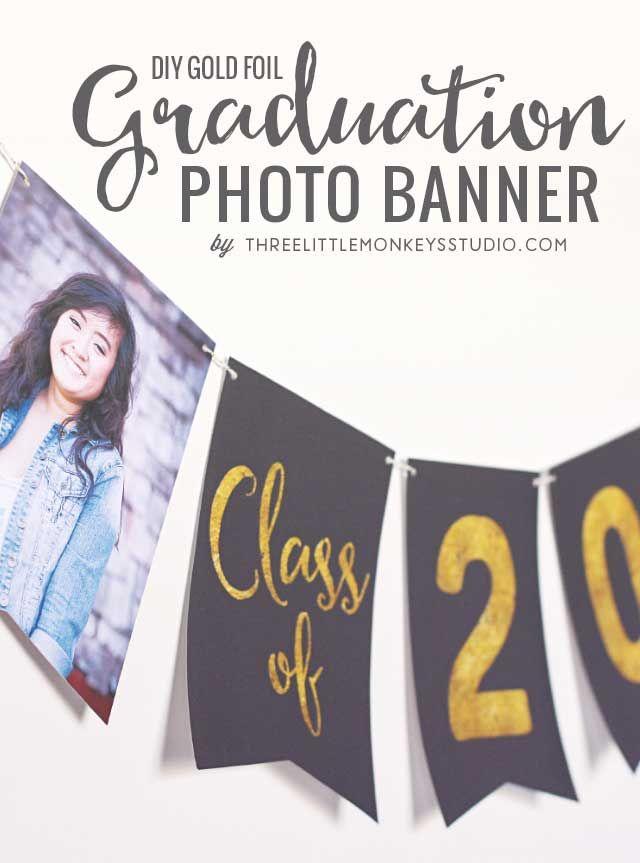 Graduation Banner Printable from Three Little Monkeys Studio via Shutterfly blog