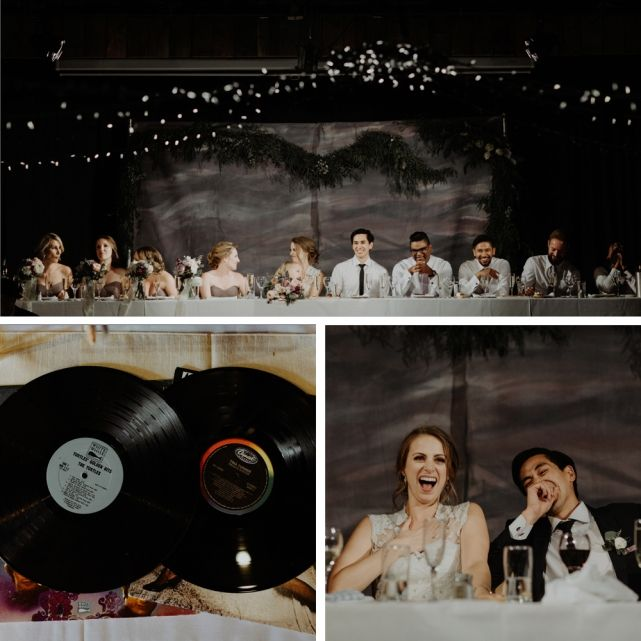 wedding planner, kismet and clover, canmore and banff wedding planner, rustic wedding, vintage wedding, wedding decor, rundleview park, wedding party, bridesmaids, wedding fashion, grey lavender, vinyl record, guest signing ideas