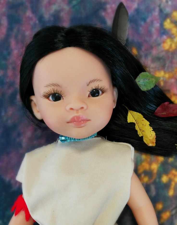 La Lalla doll inspired by disney movies. Pocahontas. Doll that resembles your child.  #pocahontas #dressup #doll #puppe #autumncolors # leaves #dollstagram #disney #fun #kids