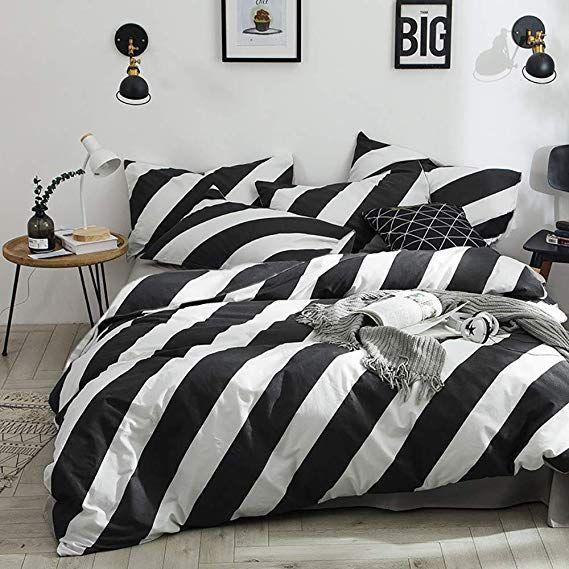 Amazon Com Karever Black White Striped Duvet Cover Queen Vertical