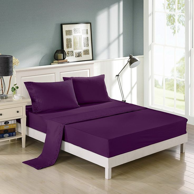 Egyptian Cotton Quality Ultra Soft 4-Piece Bed Sheet Set King, Purple