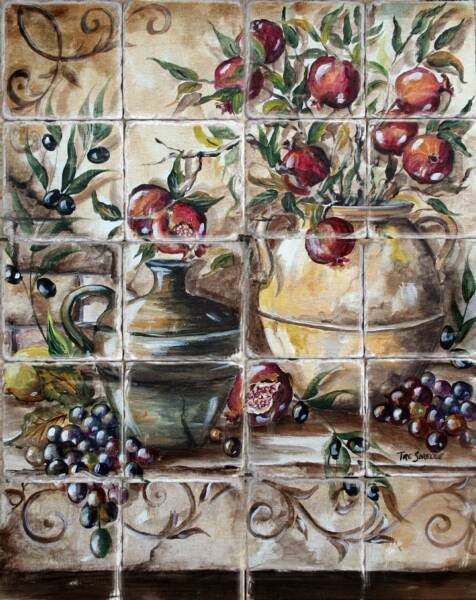 Pomegranates in Italian Pottery Tile Mural on Tumbled Marble