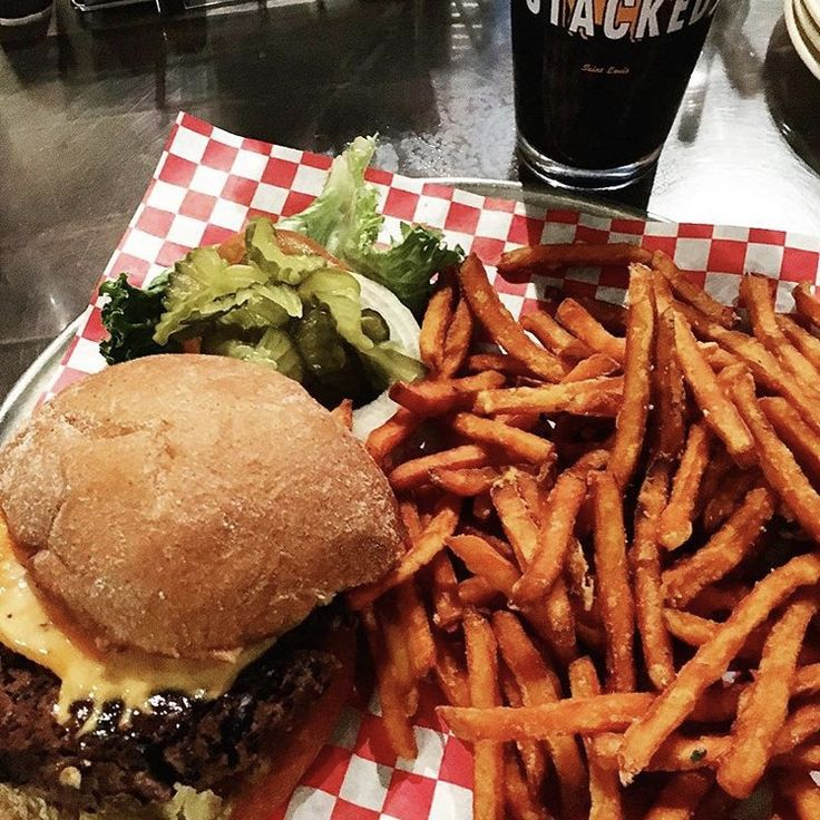 Foodie Feature sent in by @sparklesandflamingos via our Instagram! Thanks for the delicious picture of Stacked STL's burger and sweet potato fries! #bestrestaurantsinSTL