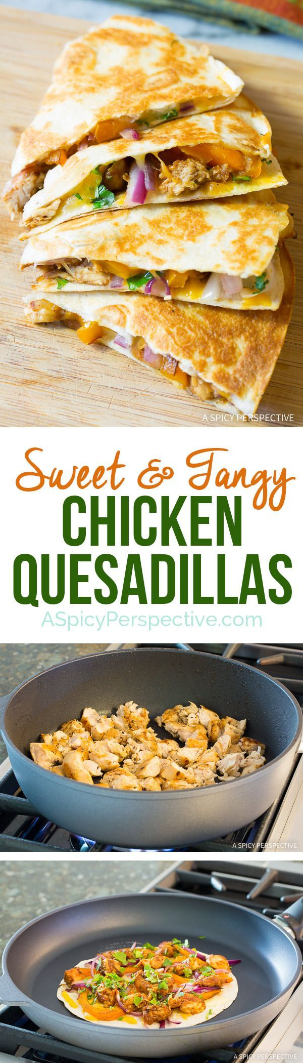 Great for Super Bowl! 10-Ingredient Sweet and Tangy Chicken Quesadillas Recipe