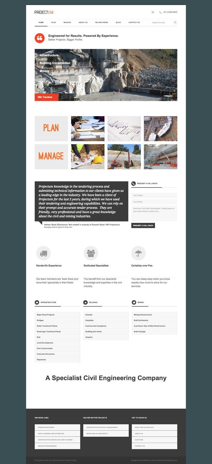 Home Page- Projectum- Civil Engineering Company Engineered for Results. Powered by Experience. Better Projects. Bigger Profits. Price - Plan - Manage Better Projects.