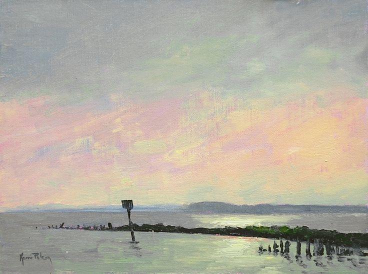 Чесапикский залив Закат Ками Mendlik масло ~ 9 х 12