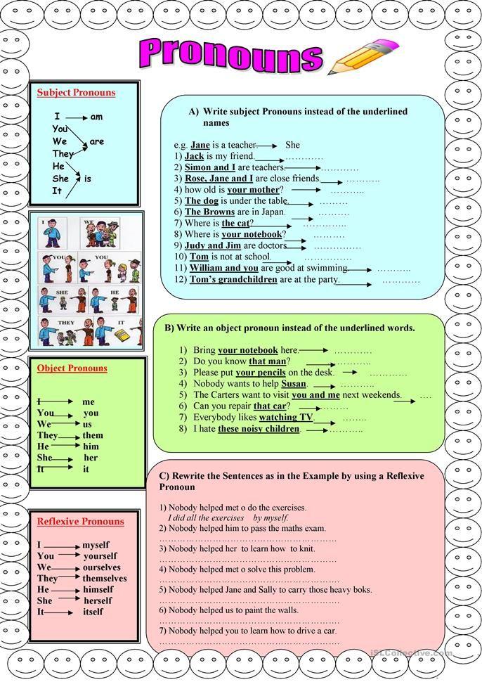 Pronouns Subject Object Reflexive English Esl Worksheets Atividades Em Ingles Para Criancas Aprender Ingles Ingles Subject object pronoun worksheets