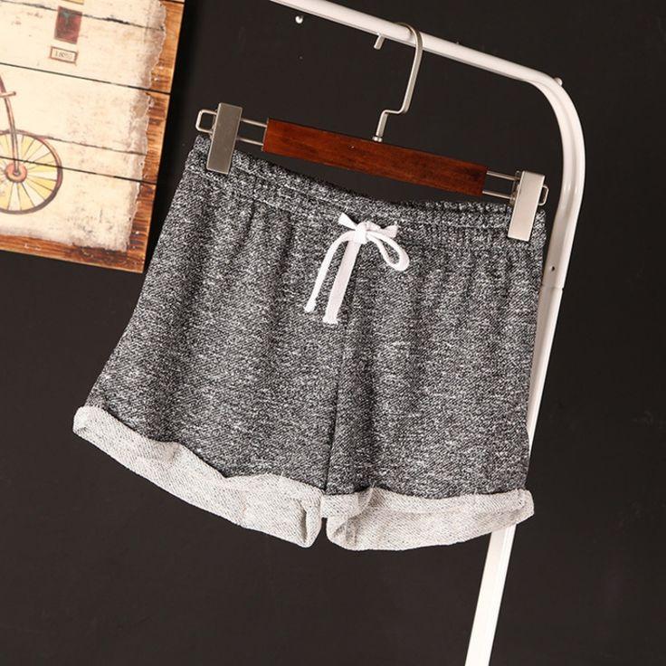 Ropa de ejercicio para Las Mujeres Corto Ocasional Más El Tamaño de Algodón Negro Corto Femininos Señoras Entrenamiento Pantalones Cortos de Cintura Alta