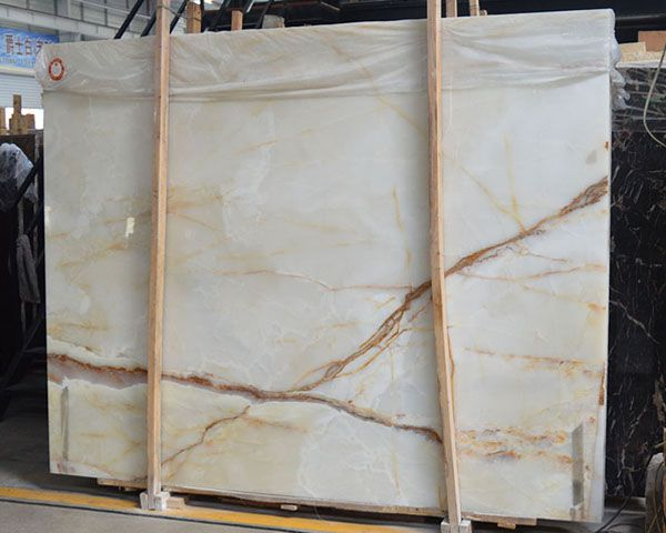 Chinese Gold Lined Veins White Onyx Marble Slab Slab Natural Marble Granite Xiamen Union Century Imp Exp Co