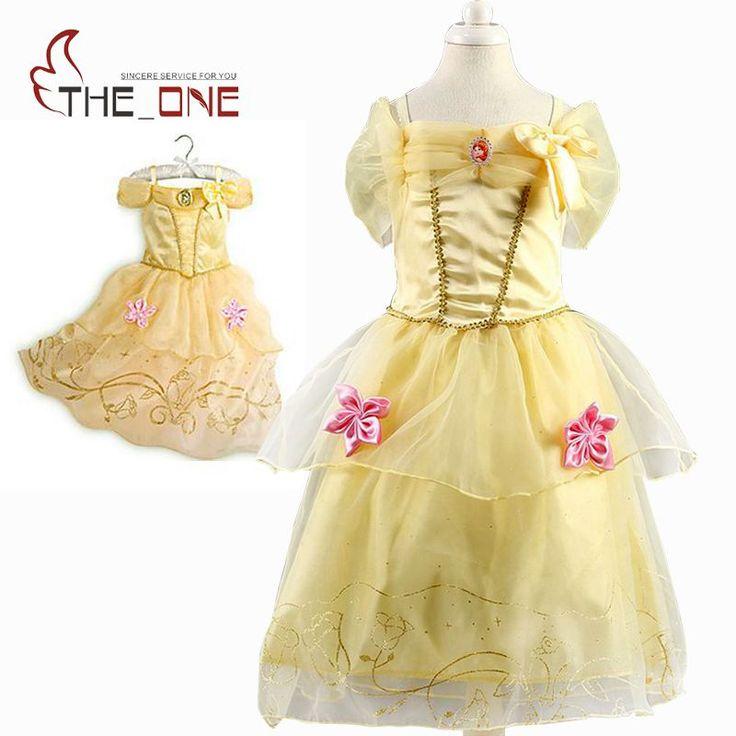 Girls Princess Belle Dresses Kids Cosplay Costume Clothing Children Rapunzel Cinderella Sleeping Beauty Sofia Party Dress T489