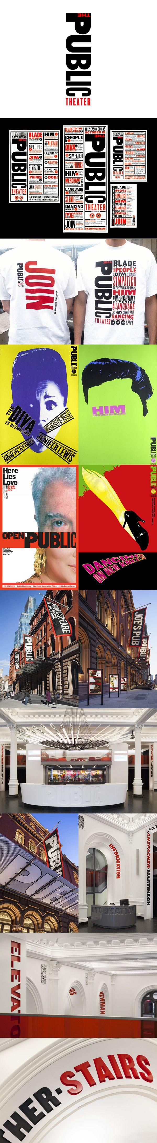 The Public Theater de New York, me parece un gran ejemplo de Sistema de Identidad, donde principalmente se genera una identidad propia y clara al lugar, y luego desde un sistema abierto se generan las aplicaciones con gran acierto y eficacia.