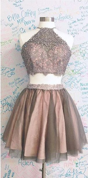 2017 short homecoming dress prom dress, two piece homecoming dress, brown prom dress homecoming dress