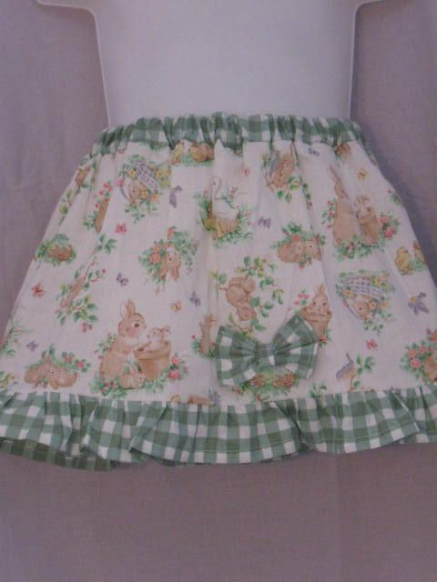 Child's Skirt with Gingham Ruffle and Bow size 3T by HappyRagz