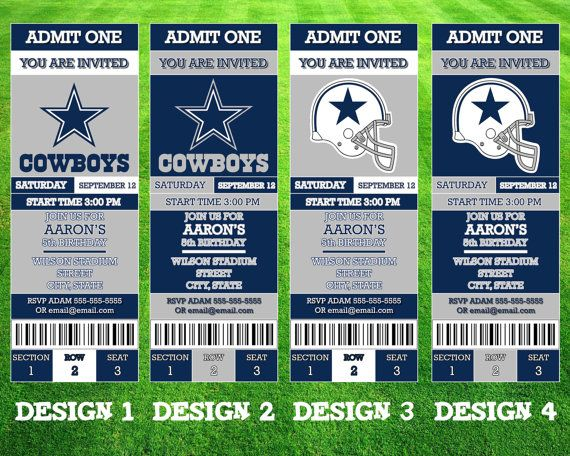 Hey, I found this really awesome Etsy listing at https://www.etsy.com/listing/247120284/dallas-cowboys-ticket-invitation