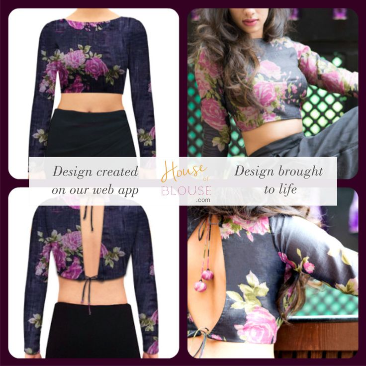 Design to reality- A floral boat neck blouse with a sexy back. Design you own now on houseofblouse.com #saree #blouse #sareeblouse #blousedesigns #desi #indianfashion #india #floral #boatneck #sexyback