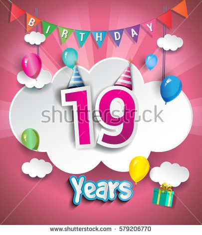 19th Anniversary Celebration Design, with clouds and balloons. using Paper Art Design Style, Vector template elements for your, nineteen years birthday celebration party.