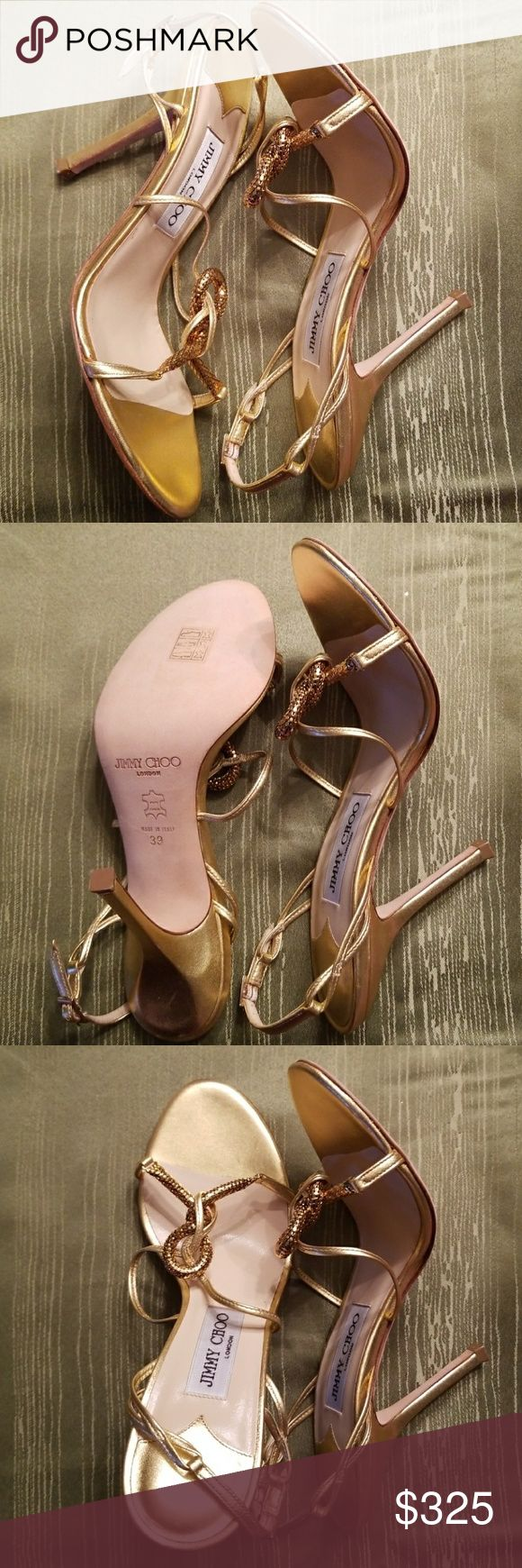 Brand New Jimmy Choo Gold Strappy Sandals Beautiful, versatile gold sandals for the very special occasions only. 4 inch heels. Never worn. NWOB Jimmy Choo Shoes Sandals