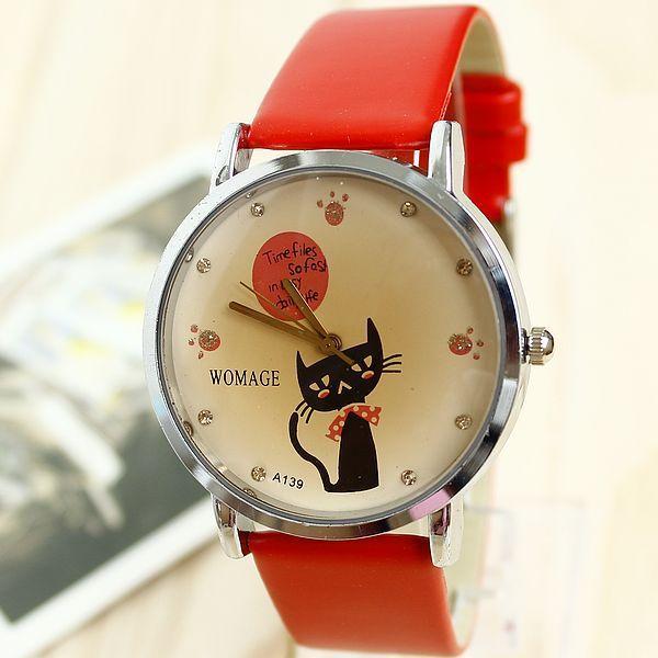 Relogio Feminino Fashion Leather Strap Watches  Cute Cartoon Cat Rhinestone Bracelet Women Dress Watch Reloj Mujer Free Shipping