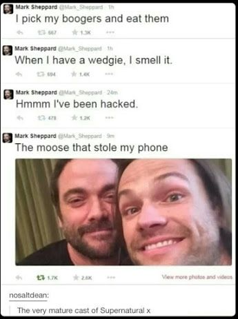 Jared Padalecki- never missing an opportunity to mess with someone