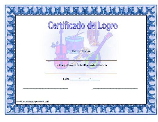 Certificado de Logro en Música para imprimir los certificados, gratis para descargar e imprimir