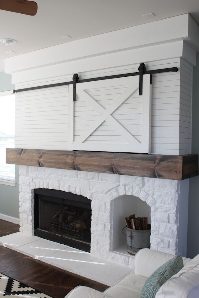 This fireplace is one of my favorite things in my house. I totally revamped it and just love how it turned out. It was just a generic fireplace like all the other ones in houses built 10 years ago, but now it is totally unique to our house. I want to walk through some of the changes I made but
