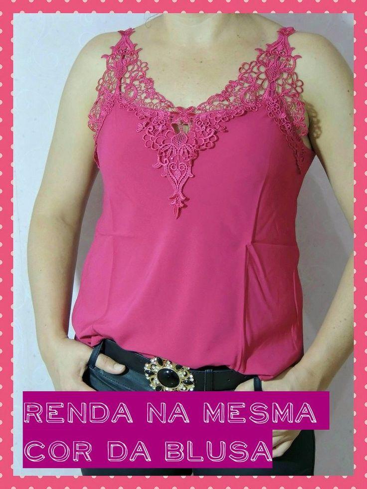 blusa de renda guipir pink