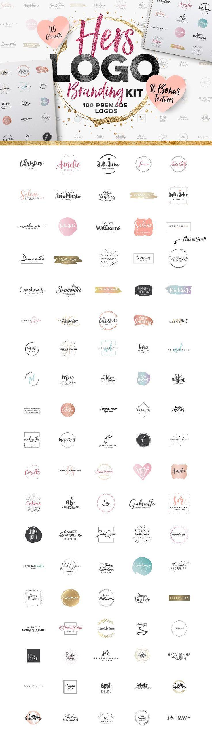 Feminine logo design kit. 100 premade logos with b…