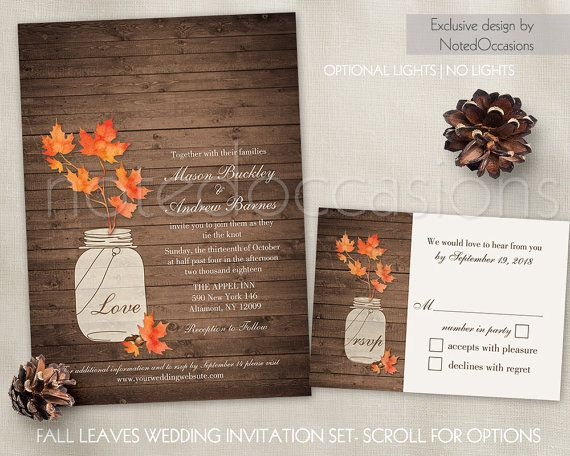 66 best Fall Wedding Invitations Rustic Chic images on Pinterest